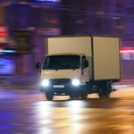 truck moving on night city
